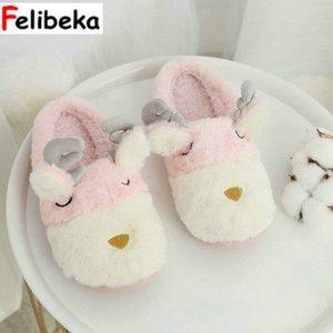 FELIBEKA hiver nouvelle pantoufle de laine femme intérieur maison antidérapante faon femmes pantoufle sac mignon et coton belles chaussures