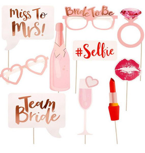 10 Teile / satz Team Braut Braut Photo Booth Hen Party PhotoBooth Requisiten Hen Night Out Bachelorette Party Dekoration Papier Gläser