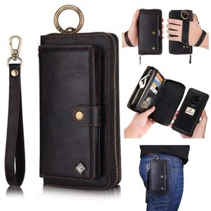 iPhone 7 Wallet Case Zipper Purse Detachable Magnetic 14 Card Slots Card Slots Money Pocket Clutch Leather Wallet Case for iPhone 8