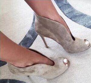 Meilleures ventes Femmes Stiletto Bottines à la cheville en peep toe en daim Printemps Automne Dame Talons aiguilles Date Slip-on Chaussures