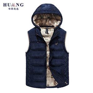 2018 New Winter Warm Hooded Vest Men Casual Sleeveless Jacket Thicken Cotton Padded Waistcoats Outerwear Plus Size L-XXXL SK66030