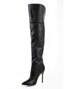 2018 heißer verkauf frauen winter über das knie schwarze kobra stiefel spitz zehe high heels party mode schuhe