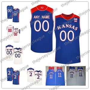 Kansas Jayhawks College Basketball Gewohnheit irgendein Name personalisierter # 11 Josh Jackson Jerseys Nummer Weiß Royal Blue Gute Qualität Genähtes
