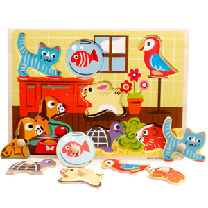 2018 Mambobaby rompecabezas de madera juguetes para niños Iluminación Kindergarten Enseñanza Tablero de rompecabezas Bebé de dibujos animados Juguetes para niños
