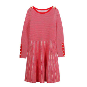 Marca de moda feminina high-end de luxo em torno do pescoço de mangas compridas fine knit listrado botão costura Magro vestido fino feminino