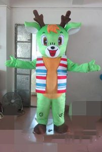 2018 High quality hot Adult Brown Deer Mascot Costume Green Christmas Elk Costume Christmas Birthday Party Dress