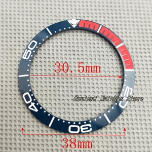 38mm BlueRed Kit d'insertion lunette en céramique GMT montre automatique cas de montre pour homme partie