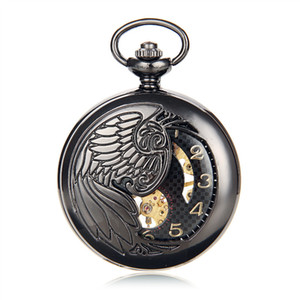 Antique Black Skeleton Phoenix Wings Carving Case Men Hand Wind Fob Clock Fashion Hollow Mechanical Pocket Watch w Chain