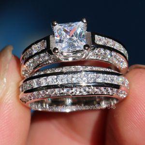 Bijoux de luxe Sz 5-10 10KT or blanc rempli d'anneaux de fiançailles de mariage de zircon cubique 5 a réglé pour les femmes hommes