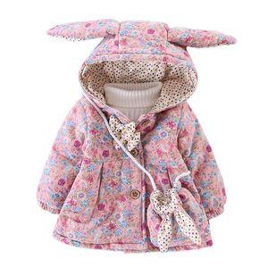 WYNNE GADIS Inverno Meninas Impressão Floral Bonito Da Orelha de Coelho Com Capuz Arco Crianças Jaqueta Casaco Crianças Outerwear com Saco casaco