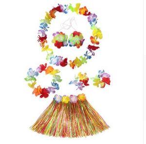 6 pcs / Set Hawaiian Décoration Pétale Tropical Leis Partie Plage Fleurs Guirlandes Robe Collier Guirlande Herbe Jupe Costume Party Decor