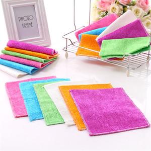 2шт сплошной цвет бамбуковое волокно кухонное полотенце из микрофибры абсорбент рука сухое полотенце Кухня Ванная комната мягкие плюшевые кухонные полотенца случайный цвет