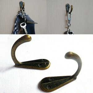 Robe Hooks Tone Bronze Metal Coat Hook Bag Clothes Hanging 2 Holes Hook Single Home Accesorios de baño Free DHL WX9-437