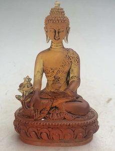 12 cm * / Rare Yellow Chines Crystal Glass Buddha statue