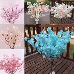 5 cores de seda de plástico artificial flores de cerejeira flores decorativas para o casamento diy flor de pêssego cereja ramo de ameixa decorativa flores falsas