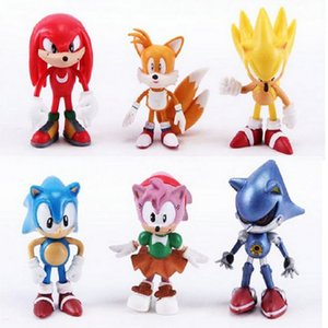 Sonic the hedgehog Action Figures toy sonic Anime Characters figure toys 6pcs set DHL free shipping C4331