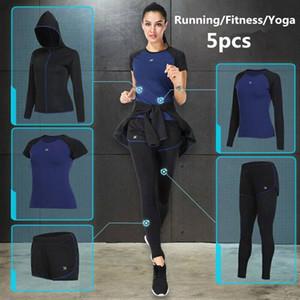 Vansydical 2018 женские спортивные костюмы Фитнес Yoga Set Бег Спортивная одежда Quick Dry Training Бег Тренажерный зал Спортивная одежда Набор 5 шт.