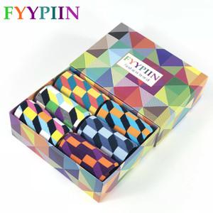 FYYPIIN 6 pair per lot Gift Box Novelty Men's Funny Socks Anchor Star Combed Cotton Skateboard Socks