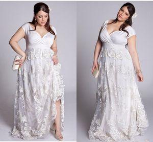 플러스 사이즈 라인 레이스 웨딩 드레스 2019 V 목 3D 꽃 레이스 정원 신부 가운 드레 이드 공식 파티 드레스 Gown Lady Women