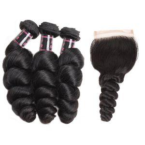 Paquetes de cabello humano brasileño suelto de onda de agua con cierre Cabello humano peruano con cierre El cabello virgen sin procesar teje al por mayor