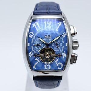 Geneve Tourbillon Leder automatische mechanische Herrenuhren Skelett Hohl Tag Datum Männer Designer Uhr Geschenke Herren Armbanduhr montre homme