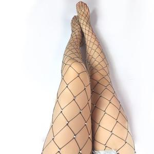 Sexy Body Stocking aushöhlen Fischernetze mit großen Kristall Diamanten Flashing Pantyhose Kostüm Dessous Tanzabnutzung schwarz weiß rot