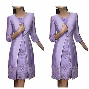 2021 O-Boyun Yarım Kollu Kılıf Anneler Elbise Dantel Aplikler İki Adet Özel Artı boyutu Gelinler Anne Resmi Giyim