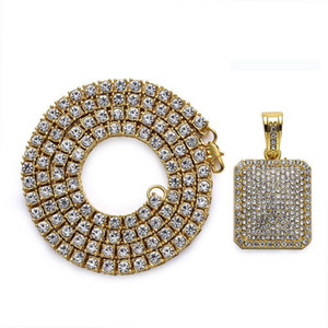 2018 1 строка круглый стразами цепи ожерелье с Bling Кристалл армии карты кулон CZ камень мужская хип-хоп мода ювелирные изделия подарки
