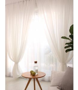 Panel de cortinas transparentes de lino blanco listo para hacer 1.5M 2 M juego de cortinas para ventanas para uso en la decoración del hogar