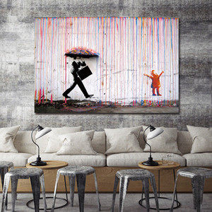 Handpainted & HD Print Banksy Graffiti Street Art oil painting Colorful Rain Home Wall Decor On High Quality Thick Canvas Multi Sizes g148
