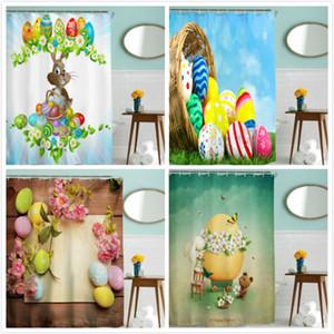 후크와 부활절 토끼 계란 샤워 커튼 3D 인쇄 방수 샤워 커튼 목욕 커튼 DHL에 의해 행복 한 부활절 파티 용품