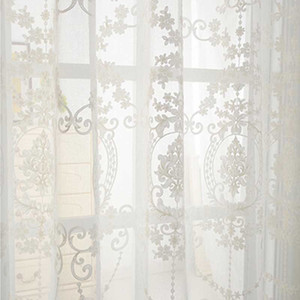 3D embroidery cotton linen fabric pure white Tulle Curtain sheer curtain translucidus Tulle Eyelets Rod Pocket WP014 *15