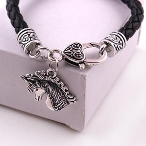 Kayısı Fu Gümüş Ortaçağ Celtic Unicorn Charm Sarkık Hayvan Magick Aşk Muska Deri Zincir Bileklik Takı