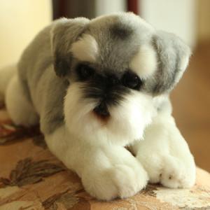 محاكاة الكلب شنوزر أفخم لعبة الكرتون دمية واقعية الحيوانات الكلب هدية عيد للأطفال الهدايا الإبداعية الديكور DY50295