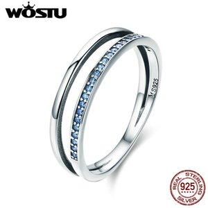 WOSTU Heißer Verkauf Echt 925 Sterling Silber Blau Bewegung Fingerringe für Frauen Silber Modeschmuck Geschenk CQR293