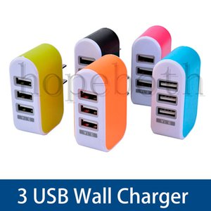 High Quality LED Light Triple 3USB ports 3.1A AC US EU candy color wall charger home plug for samsung for Huawei Xiaomi