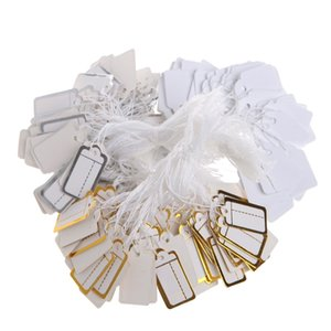 100 adet Kağıt Takı Fiyat Etiketleri Dize Altın ve Gümüş ile Strung Fiyatlandırma Etiketi Mağaza Aksesuarları Gerekliliği Etikel Etiketi Kağıt