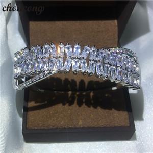 Choucong Handmade Cruz pulseira Princesa Diamante S925 Partido Cheio De Prata pulseira de Casamento para as mulheres Moda accessaries