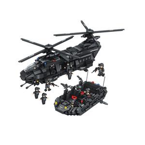 빌딩 블록 1351pcs Swat 팀 빌딩 블록 치누크 (Chinook) 운송은 하이 브랜드 헬리콥터 소년 벽돌 장난감과 비교됩니다
