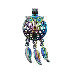 5pcs Rainbow Color Owl Dreamcatcher Pearl Beads Cage Locket Pendant Essential Oil Diffuser DIY Jewelry Locket For Oyster Pearl