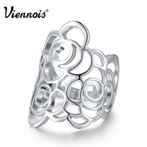 Viennois marca new cor prata oco flor anéis para as mulheres do partido tamanho 7 8 9 anel de dedo feminino moda jóias