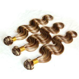 Piano Color 8 613 Mix Human Hair Wedding Hair Brown Blonde Body Wave Human Hair Weaves Highlight Virgin Brazilian Bundles 3Pcs Lot