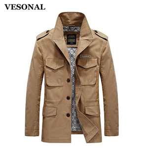 VESONAL Spring Autumn Cotton Fashion Pocket Stand Straight Long Male Casual Jacket Men Windbreaker Jackets Coat Blue Khaki 4XL