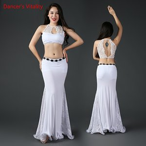 Traje de danza del vientre Belly Dance Ropa de mujer Top y Performance Skirt Belly Dancewear Lace + falda modal Vestidos de baile 2 unids / set