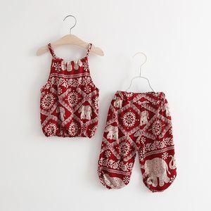 Ropa de las niñas bebés Dos piezas de Mian Silk Children Sling Harem Pantalones impresión Vintage patrón para bebé infantil ropa Set cómodo