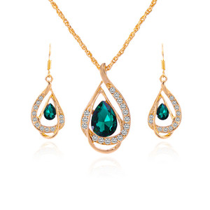 2018 Fashion Sapphire + Austrian Crystal Hollow Statement Schmuck Sets 18K Gold Opal Anhänger Halskette Ohrring Set mit Swarovski Elementen