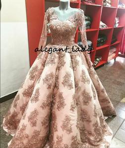 Blush Pink Puffy Skirt Soirée Formelle Robes à Manches Longues 2018 Real Image V-Neck Full Dentelle Perlée Applique Princesse Robe De Bal