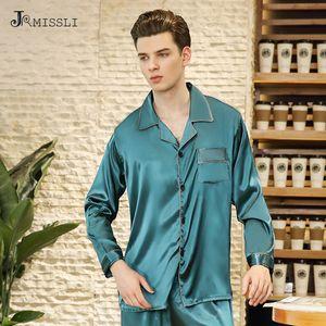 JRMISSLI  Heavy Silk Pajamas Men's Long sleeve Pyjamas Male  Silk Sleepwear Pajama Sets Men Homewear Sets