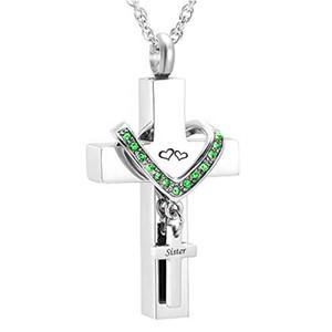 Мемориальные ювелирные изделия крест из нержавеющей стали для сестры мемориальная кремация пепел урна кулон ожерелье на память урна ювелирные изделия