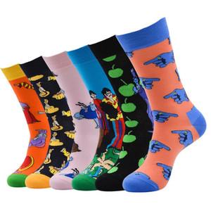 5 paires / lot Peinture à l'huile Mode pour hommes chaussettes en coton Harajuku drôles Socks Vibrant heureux de calcetines cadeaux pour homme